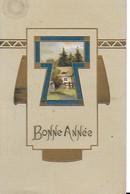 Bonne  Année -  Paysage Forestier , Carte Façon Légèrement Gaufrée - Carte De Caractère Année 1916 - New Year