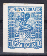 Yugoslavia, Kingdom SHS, Issues For Croatia 1918, Changed Colour Proof On Cardboard Thick Paper - Nuovi