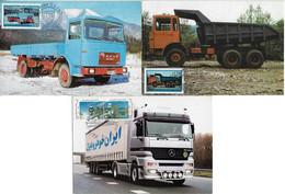 Romania And Iran 1975 / 2001 3 Maximum Card Transport Truck - Camion