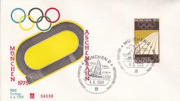 DEUTSCHE BUNDESPOST. MUNCHEN 1972, ASCHENBAHN, PISTE DE CENDRES. OLYMPIA JEUX OLYMPIQUES. 4.6.1969 FDC.- LILHU - Verano 1972: Munich