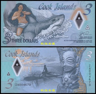 Cook Islands 3 Dollars, (2021), ZA Replacement, Polymer, UNC - Cook Islands