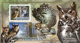 Guinea Bissau 2007, Animals, Birds And Scout, Owls II, BF IMPERFORATED - Owls