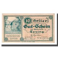 Billet, Autriche, Texing N.Ö. Gemeinde, 10 Heller, N.D, 1920, 1920-10-15, SUP - Autriche