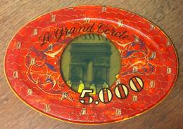 75 PARIS CASINO LE GRAND CERCLE PLAQUE DE 5.000 FRANCS N° 00096 JETON TOKENS COINS CHIPS - Casino