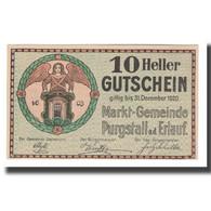 Billet, Autriche, Purgstall N.Ö. Marktgemeinde, 10 Heller, Batiment, 1920 - Autriche