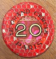 75 PARIS CASINO LE GRAND CERCLE PLAQUE DE 20 FRANCS N° 01059 JETON TOKENS COINS CHIPS - Casino