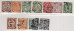 CHINE - LOT De 11 TIMBRES (1902-12) Petit Dragon . - Gebruikt