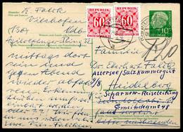 F1198 - BUND - Ganzsache 1958 Vilshofen > Heidelberg, Weiter Nach Österreich Mit Nachgebühr - Cartes Postales - Oblitérées