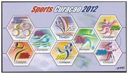 Antilles / Curacao 2012 Sport Baseball Sailing Biking Swimming S/S Used - Curaçao, Nederlandse Antillen, Aruba