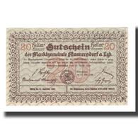 Billet, Autriche, Mannersdorf N.Ö. Marktgemeinde, 20 Heller, Ruine, 1920 - Autriche