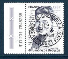 France 2021..Simone De Beauvoir .Cachet Rond Gomme D'Origine - Used Stamps