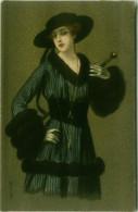COLOMBO SIGNED 1930s POSTCARD -  WOMAN & BLACK HAT & FUR - N. 935 -  ANNULLO OSPEDALE MILITARE SASSOFERRATO -  (BG1663) - Colombo, E.