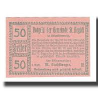 Billet, Autriche, St. Aegidi O.Ö. Gemeinde, 50 Heller, N.D, 1920, 1920-12-31 - Autriche
