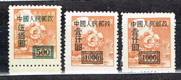 "China P.R. 1950 , "" Regulars With Overprint"" , Mi. 27A, 29A 29D  / MNH / Neuf - Ongebruikt"