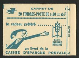 N° 1536 - C3 Cote 35 € 30 Ct Lilas CHEFFER  Carnet Fermé De 20 TP + N° 6. TB - Freimarke
