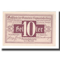 Billet, Autriche, Sigmundsherberg N.Ö. Gemeinde, 10 Heller, Texte, 1920 - Autriche