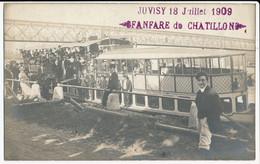 Rare CPA 91 JUVISY Carte-Photo Fanfare De Chatillon 18 Juillet 1909 - Juvisy-sur-Orge