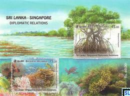 Sri Lanka Stamps 2021, Singapore Diplomatic, Joint Issue, Fish, Marine, Mangroves, Corals, MS - Sri Lanka (Ceylon) (1948-...)