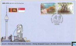 Sri Lanka Stamps 2021, Singapore Diplomatic, Joint Issue, Fish, Marine, Mangroves, Corals, FDC - Sri Lanka (Ceylon) (1948-...)
