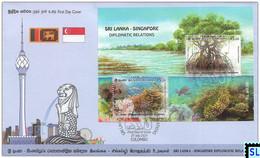 Sri Lanka Stamps 2021, Singapore Diplomatic, Joint Issue, Fish, Marine, Mangroves, Corals, FDC MS On - Sri Lanka (Ceylon) (1948-...)