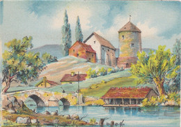 CARTE FANTAISIE. CPA .ILLUSTRATEUR. BARDAY. PAYSAGE. LAVOIR - Barday