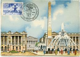 FRANCE CARTE MAXIMUM DU N°783 PLACE DE LA CONCORDE A PARIS AVEC OBL ILL EXPOSITION UPU MUSEE POSTAL PARIS 27 JUIL 47 - 1940-49