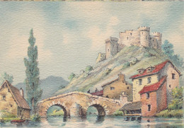 CARTE FANTAISIE. CPA .ILLUSTRATEUR. BARDAY. PAYSAGE. PONT. LAVOIR. CHATEAU FEODAL - Barday