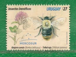 1750 URUGUAY 2021-Mercosur- Insectos Benéficos TT: Abejas,Insectos,PLantas ¡¡¡¡¡¡CUIDATE !!!!! 1 Sello - Uruguay