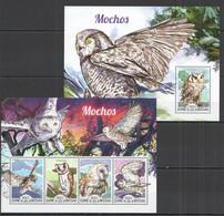 ST1002 2015 GUINE GUINEA-BISSAU FAUNA BIRDS OWLS MOCHOS KB+BL MNH - Owls