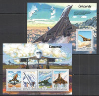 ST1017 2015 GUINE GUINEA-BISSAU TRANSPORT AVIATION CONCORDE KB+BL MNH - Concorde