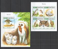ST909 2015 GUINE GUINEA-BISSAU FAUNA BIRDS OWLS MOCHOS KB+BL MNH - Owls