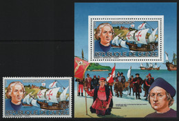 Guinea 1985 - Mi-Nr. 1036 A & Block 146 A ** - MNH - Schiffe / Ships - Columbus - Guinea (1958-...)
