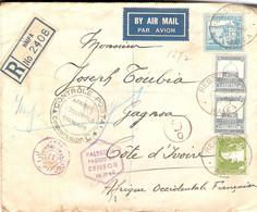 Lettre Recommandée De Haïfa (Palestine) Pour La Côte D'Ivoire, 1939, Issa Sahyoun, PA, Censure / Censor + Contrôle AOF - Palestina