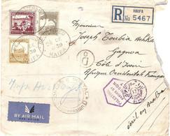 Lettre Recommandée De Haïfa (Palestine) Pour La Côte D'Ivoire, 1939, Sahyoun, PA, Censure / Censor + Contrôle AOF - Palestina