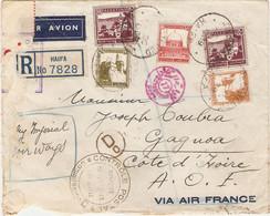 Lettre Recommandée De Haïfa (Palestine) Pour La Côte D'Ivoire, 1939, PA, By Imperial Airways, Opened, Contrôle AOF - Palestina