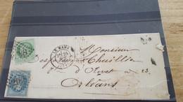 LOT552528 TIMBRE DE FRANCE OBLITERE SUR ENVELOPPE - 1863-1870 Napoléon III. Laure