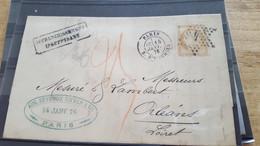 LOT552550 TIMBRE DE FRANCE OBLITERE SUR ENVELOPPE  CACHET - 1871-1875 Ceres
