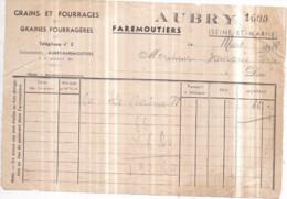 Dépt 77 - FAREMOUTIERS - Grains Et Fourrages AUBRY - Facture De Mars 1938 - Faremoutiers