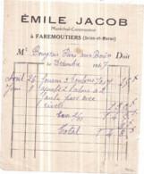 Dépt 77 - FAREMOUTIERS - Émile JACOB, Maréchal-Constructeur - Facture De Décembre 1947 - Faremoutiers