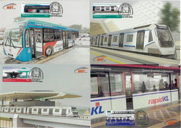 Malaysia 2017 Complete Series With 4 Maximum Card Transport Train Railway LocomotiveMRT Sungai Buloh-Kajang Bus Station - Treni