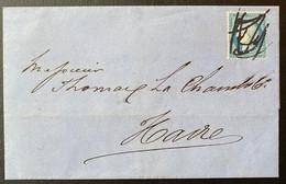 Lettre Avec N°60 Annulé Plume (en Arrivée Ou Départ ?) De Paris Pour Le Havre En Juillet 1872 Amusant TTB - 1871-1875 Ceres