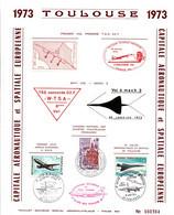 Concorde TSS 02 - Toulouse 1973 - Feuillet Souvenir Avec Vignette Et Cachets - 20 X 25 Cm - Luftpost