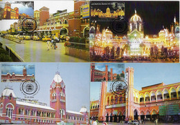 India 2009 Complete Series With 4 Maximum Card Old Railway Station Train Transport Architecture - Trenes