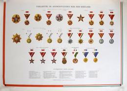 """~1970-1980. """"Viselhető, De Már Nem Adományozható Kitüntetések Listája"""" Nagyméretű Plakáton, Képekkel A Kitüntetésekről.  - Non Classificati"""