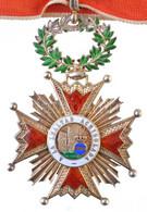 """Spanyolország ~1900-1975. """"Katolikus Izabella-rend Középkereszt"""" Aranyozott és Zománcozott Kitüntetés, Jelzés Nélkül, Ny - Non Classificati"""