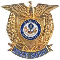 """DN """"Arkansas Deputy Sheriff"""" Aranyozott Fém Jelvény Német Nyelvű Tanúsítvánnyal T:1 - Non Classificati"""