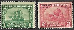 US 1920  Sc#548-9  1c 2c Pilgrims  MH   2016 Scott Value $9.25 - Ungebraucht