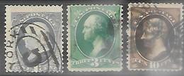 US 1881 Sc#206-7, 209  1c, 3c, 10c  Used   2016 Scott Value $7.80 - Used Stamps