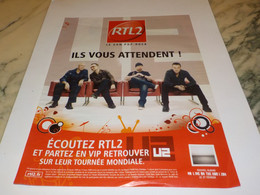 ANCIENNE PUBLICITE CONCERT U2 AVEC RTL 2  2009 - Andere