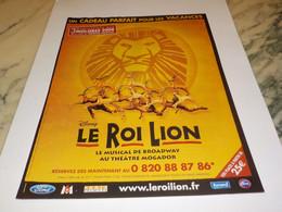 ANCIENNE PUBLICITE LE MUSICAL LE ROI LION  2008 - Andere